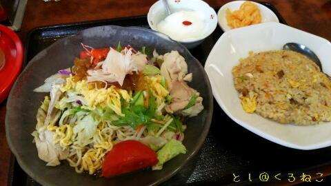冷やし中華+半チャーハンセット(杏仁豆腐付き)