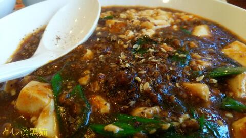 熟成<黒>豆板醤のウマ辛麻婆豆腐 + 餃子
